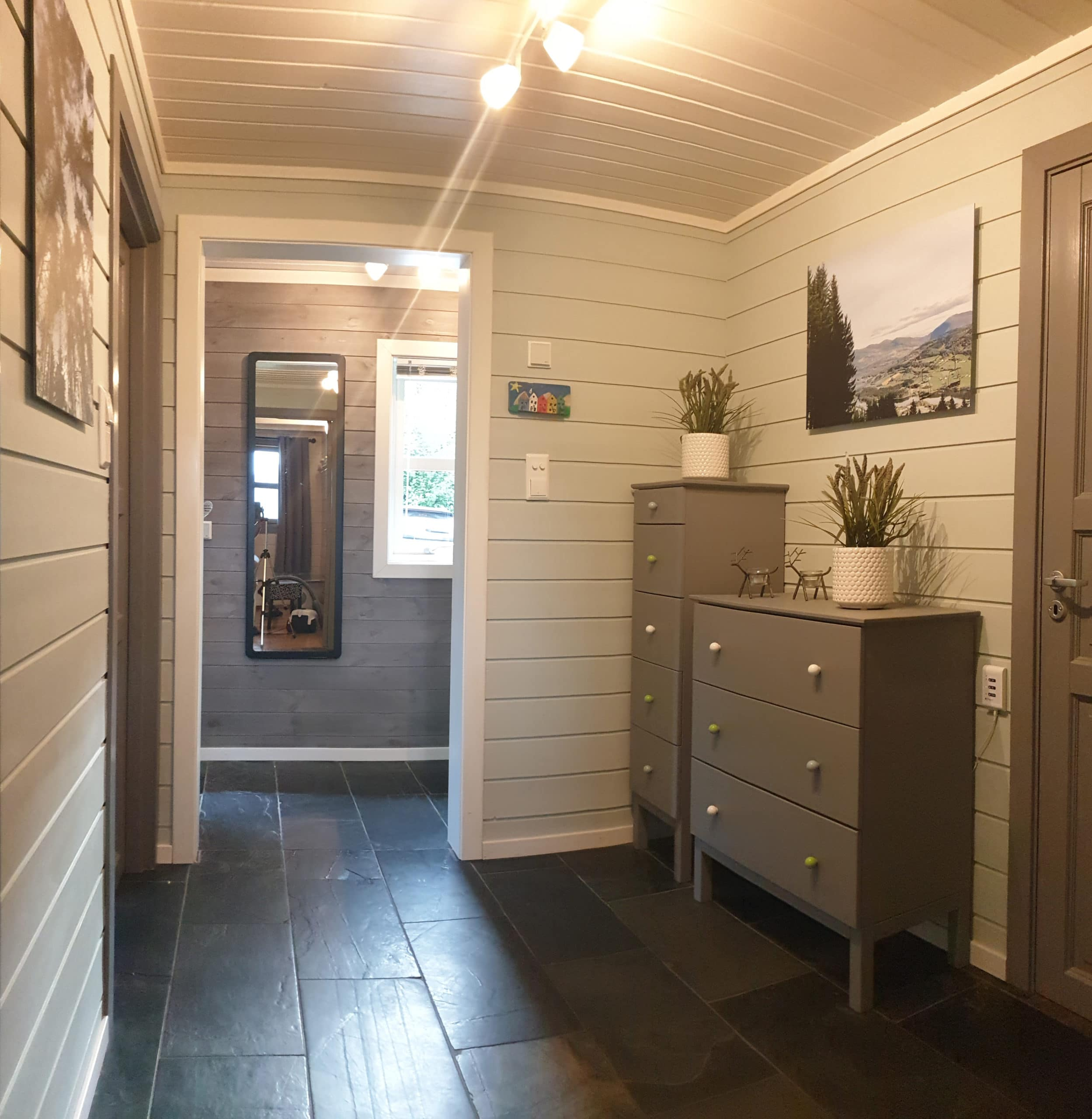 Hall to living room, bedroom and wc
